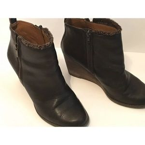 Lucky Brand 9.0 M Brown Wedge Ankle Yorque Boots